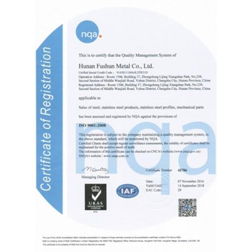 Certificado NQA ISO