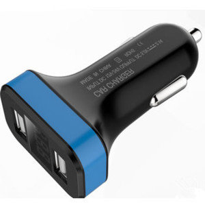 2.1A Rapid Dual USB in-car charger with LED display for mobile phone