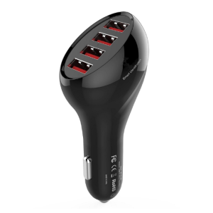 50W 10A 4-Port USB Car Charger with Smart Identification for iPhone 7 / 6s / Galaxy S8 /S7 / S