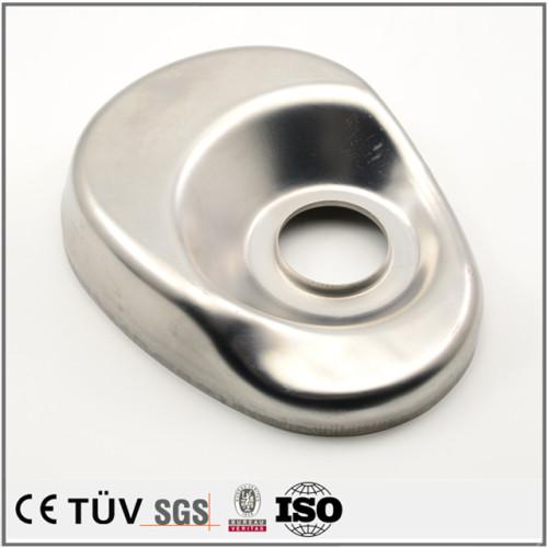 レーザー切断板金,アルミ合金材質、バフ仕上げ、白アルマイト処理、設備用板金部品。