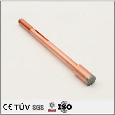 紫铜材质,车床加工部品,高精密研磨抛光等机械零件