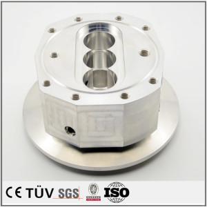 车铣复合5轴加工机械零件,铝材质,白色阳极氧化处理等高精密部品