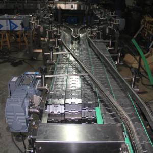 Aço inoxidável de topo plano transportando sistemas transportadores de engarrafamento em cadeia