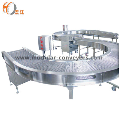 Curved stainless steel wire mesh belt conveyor