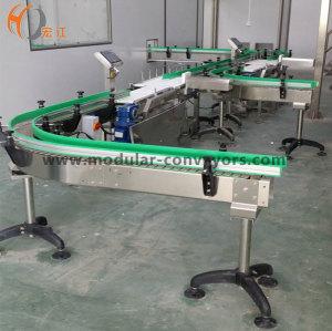 Transportadores de cadena de listones de curva para sistema de transporte de grado alimenticio de transferencia de alimentos.