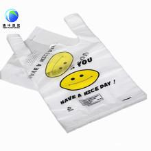 Bolso plástico de la camiseta de la cara de la sonrisa
