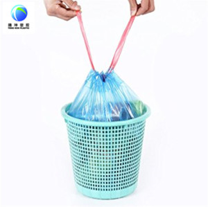 Plastic Disposable Drawstring Garbage Bags in Roll
