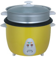 2018 new classical drum shape rice cooker with steamer with glass lip with color outer shell