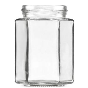 300ML FlINT HEXAGONAL GLASS JAM JARS
