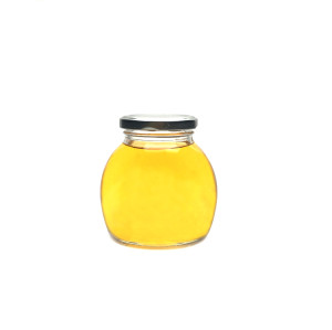 175ml Clear flat ball shape glass storage jar for jam honey with lid wholesale