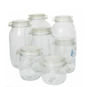 glass storage jar with metal clip