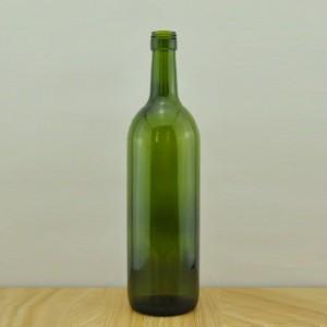 empty 750ml dark green claret wine bottle in china