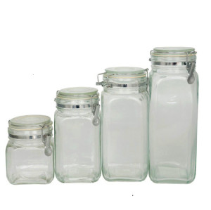 swing top glass storage jar/clip top glass jar