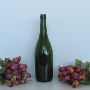 Customized wine bottle 750ml dark green burgundy wine bottle with logo