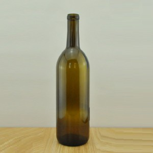 750ml cork finish antique green claret wine glass bottle FLAT BOTTOM wine bottle