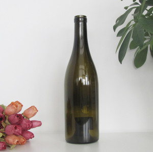 empty 750ml cork finish antique green burgundy wine glass bottle China Hebei