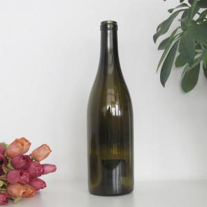 empty 750ml cork finish antique green burgundy wine glass bottle China Hebei