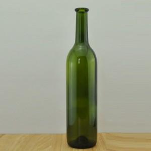 750ml dark green claret wine bottle/red wine glass bottle 75cl/Flange top glass