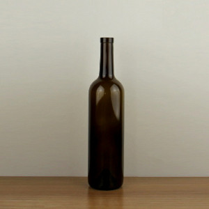 empty bartop glass wine bottle 750ml antique green color in china