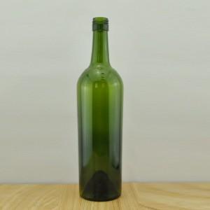 750ml Glass Wine Bottle Tapered Stelvin Finish BVS Top Dark Green Wine Bottle