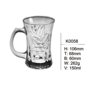 150ml Glass Mugs with handle transparent beer cup