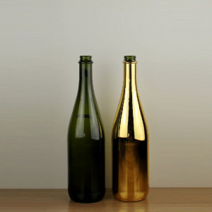 750ml Crown Cap Electroplate Gold Champagne Glass Bottle