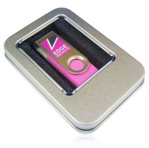 promotional credit card/swivel usb disk packing with tin box