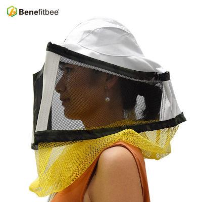 厂家直销养蜂防护工具白色网纱方形防蜂帽批发