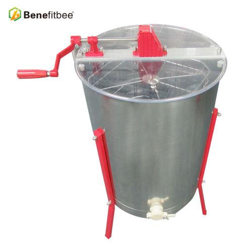 厂家直销养蜂工具不锈钢4框手动摇蜜机带支架出蜜口