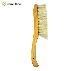 Bent Third Rows Wooden Handle Bee Brushes For Beekeeping Tools