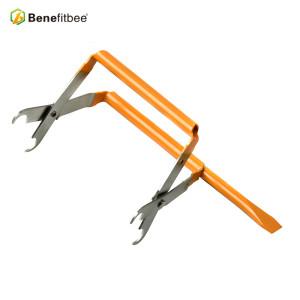 厂家直销养蜂工具 欧式提脾夹带铲不锈钢黄漆巢框夹 蜂具批发