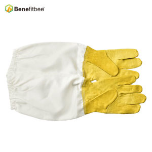 Venta caliente piel de oveja tela blanca apicultura herramientas guantes protectores para apicultor