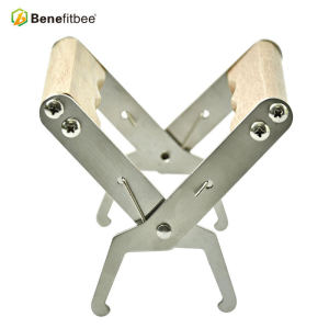 Beekeeping tool stainless steel frame grip with wooden handle for honey comb foundation