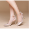 Pointed Toe Shallow Mouth Ankle Strap nude Patent Leather Women Shoes