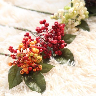 Artificial flower Christmas bean branch wholesale berry single branch fake flower wedding home decoration