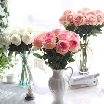 Artificial roses wedding supplies Artificial plant flannel rose artificial flowers home decoration crafts