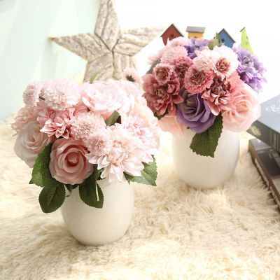 Rose Dahlia Bouquet Artificial Flower Export Artificial flowers Export Wedding Home Decorations