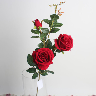 RESUP Artificial Fabrics Rose 3 Heads 82cm Tall