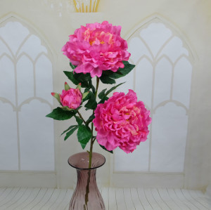 RESUP Artificial Propitious Peony 3-Heads 87cm Tall