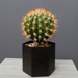 RESUP Artificial Barrel Cactus in Plastic Pot 0140 potted artificial ball cactus Wholesale China Factory