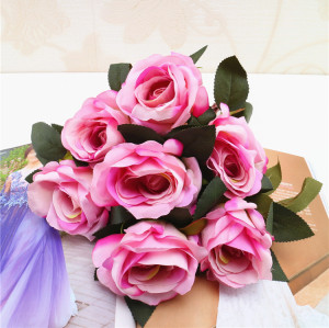RESUP High Quality Artificial Flowers Bouquets For Home and Wedding Decoration 0489 16'' Tall Artificial Rose Bouquet Wholesale China Factory