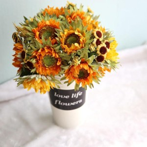 RESUP Artificial Sunflower Bouquet 0509 For Home and Wedding Decoration 10.8'' Tall Artificial Flower Bouquet Wholesale China Factory