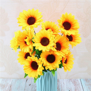 RESUP Artificial Sunflower Bush 0503 For Home and Wedding Decoration 9.6'' Tall Silk Sun flower Wholesale China Factory