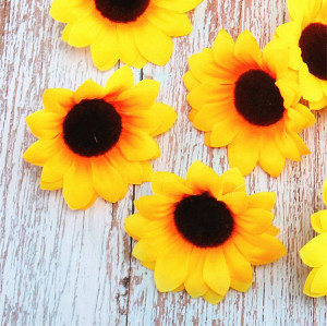 RESUP Artificial Sunflower Head 0165 14.8'' Tall Artificial Flower Heads Wholesale China Factory