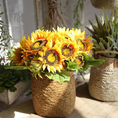 RESUP Artificial Sunflower Bouquet 0508 For Home and Wedding Decoration 14'' Tall Silk Sunflower Wholesale China Factory