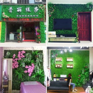 RESUP Artificial Green Wall Panel 40cm*60cm for Wall Decoration 0563 Green Mat China Factory