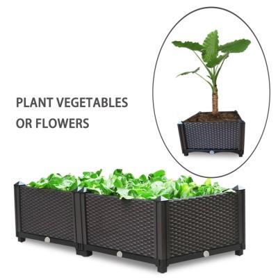 Factory Outdoor Assembled Large Garden Planter Box Plastic Square Planter For Flower Pots Planting