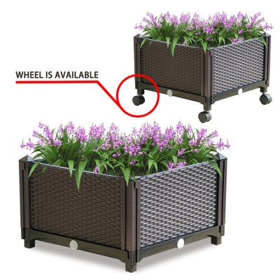 PP Outdoor Raised Elevated Garden Bed Square Planter Box plants