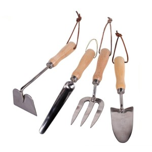 wholesale high quality wooden handle gardening hand fork trowel set