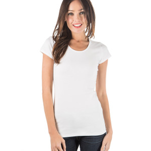 zhAjh Womens Cotton Spandex Scoopneck Short Sleeve Tee